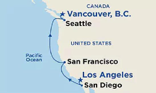 Classic Californian Coast & Yosemite with Wine Regions, San Francisco & Hollywood Map