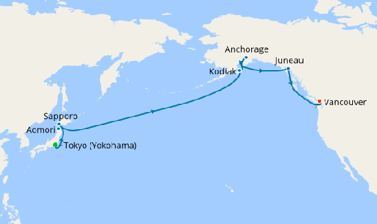 5* Voyage Of Fire & Ice with Tokyo Sumos, Robot Cabaret & Fjords of Alaska Map