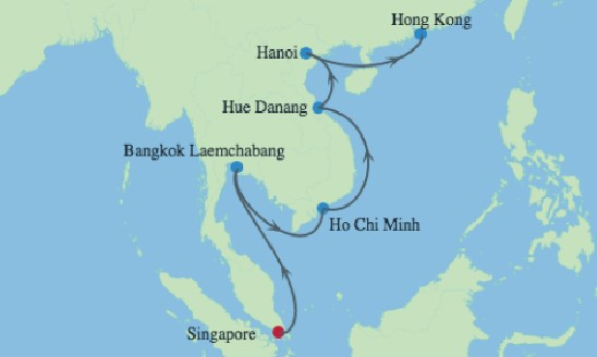 5* Ultimate Asian Odyssey with Ha Long Bay, Ho Chi Minh & Bangkok Map