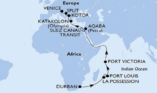 Victoria Falls & Big Five Safari with Indian Ocean Odyssey Map