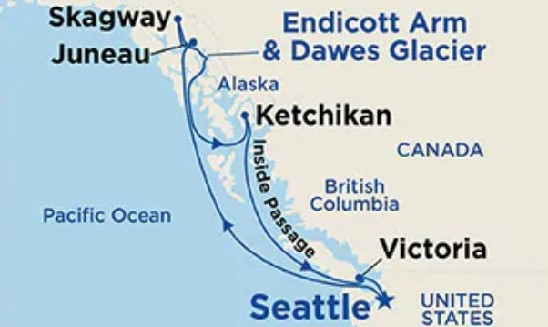 Alaska Discovery with Canada & Seattle Map