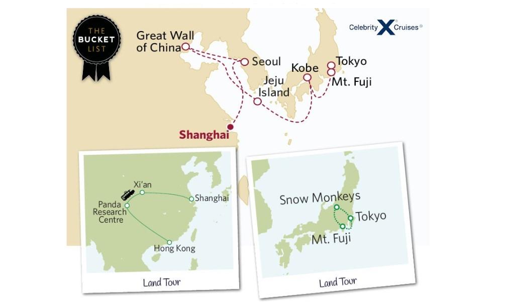 China vs Japan with Pandas, Snow Monkeys, Robot Cabaret and Terracotta Warriors Map